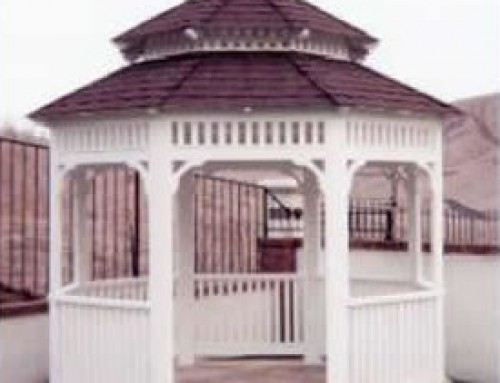 "10′ Newport Style Gazebo. This Gazebo comes with a ""Hickory"" style roof and a 30 year warranty."