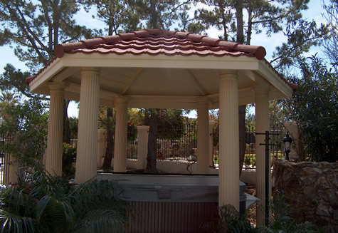 12′ Hexagonal with Fluted columns over a spa in Orange County""