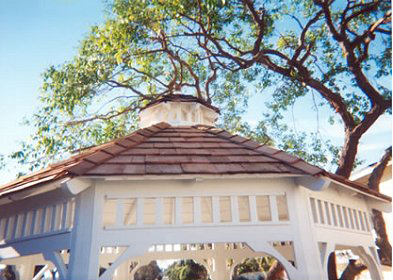 "Enjoy a custom ""Cedar Shake"" roof on this 10′ Malibu Style Gazebo."