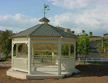 "Enjoy the rustic outdoors with our 15′ Custom Malibu Style Gazebo with an ""Antique Slate"" roof."