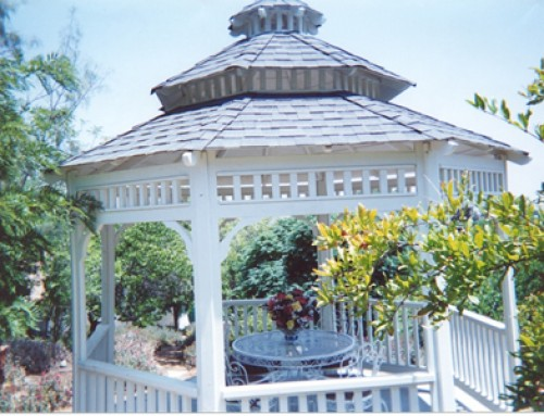 "With an ""Antique Slate"" roof, this Newport Style Gazebo makes a great addition to any home. It also comes with a 30 year warranty on the roof."